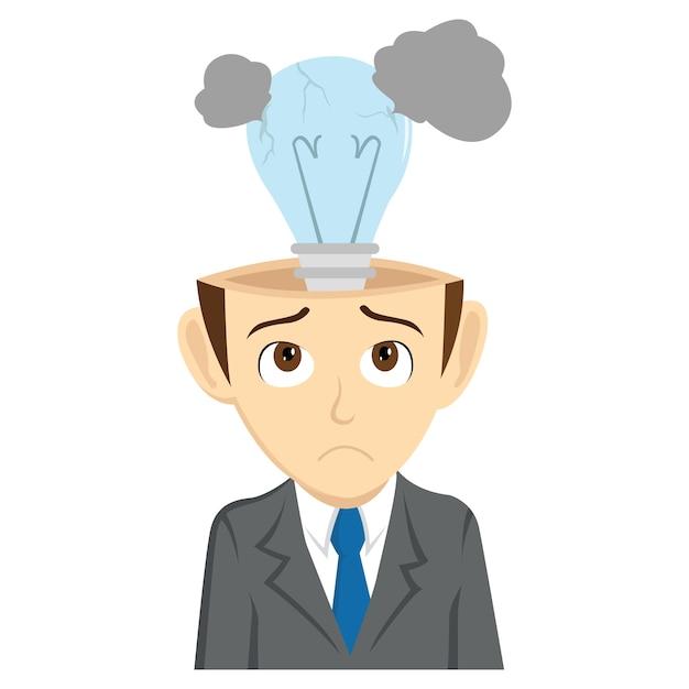 L'uomo d'affari ha perso idea con la lampada rotta Vettore Premium