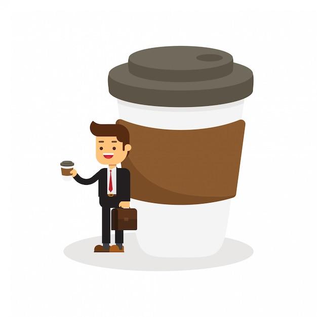 L'uomo d'affari ha una pausa caffè Vettore Premium