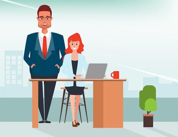L'uomo d'affari in capo assegna il lavoro alla donna di affari. Vettore Premium