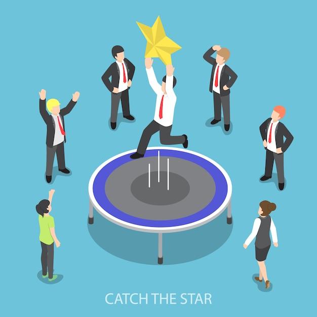 L'uomo d'affari isometrico che salta sul trampolino e prende la stella Vettore Premium