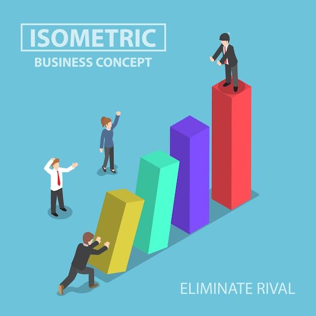 L'uomo d'affari isometrico elimina il suo rivale spingendo l'istogramma Vettore Premium