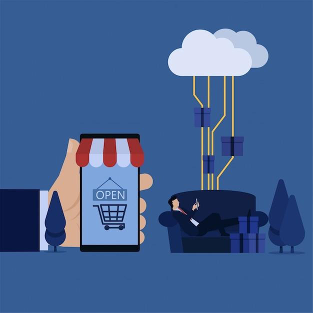 L'uomo d'affari mette sul telefono della tenuta del sofà e sul mercato telefonico della tenuta della mano Vettore Premium