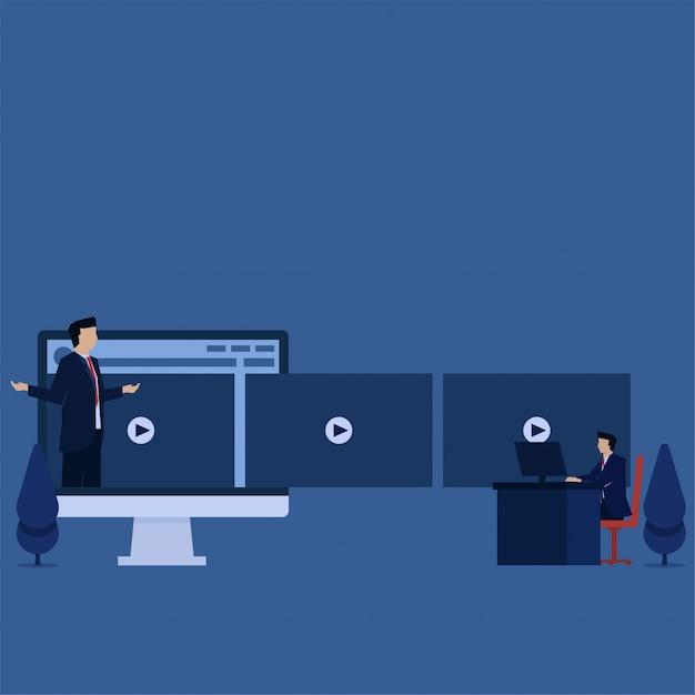 L'uomo d'affari piano di concetto di vettore di affari vede il video tutorial sulla metafora del monitor dell'apprendimento online. Vettore Premium