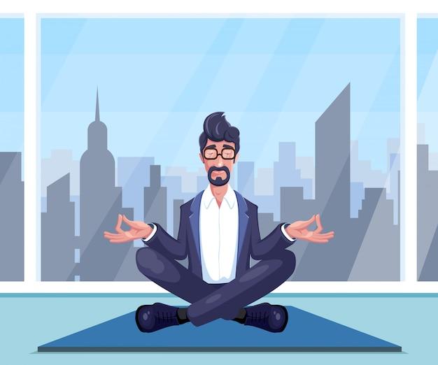 L'uomo d'affari pratica lo yoga Vettore Premium