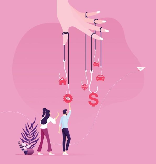 L'uomo d'affari prova a raccogliere i soldi dalla trappola dell'amo. il denaro come concetto di business trappola Vettore Premium