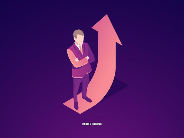L'uomo d'affari rimane sulla freccia su, crescita di carriera, successo di affari Vettore gratuito