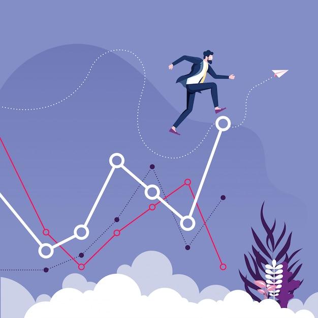 L'uomo d'affari salta al livello più alto del grafico. concetto crescente di affari Vettore Premium