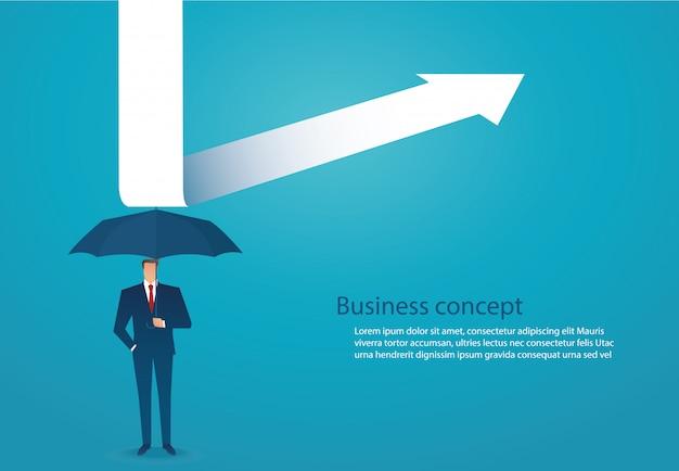 L'uomo d'affari usa l'ombrello per proteggere la freccia giù Vettore Premium