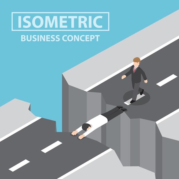 L'uomo d'affari usa se stesso come un ponte Vettore Premium