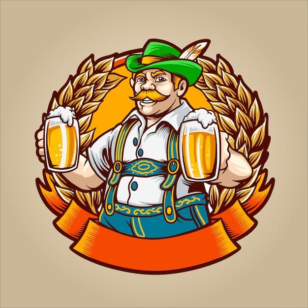 L'uomo della birra Vettore Premium
