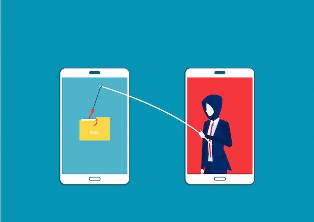 L'uomo di affari ruba i dati, attacco del pirata informatico all'illustrazione di vettore dello smartphone. attacca l'hacker a dati, phishing e crimini informatici Vettore Premium