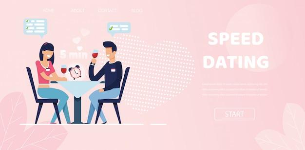 L'uomo donna fa domande flirtare chat a speed dating Vettore Premium