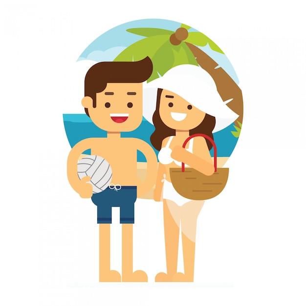 L'uomo e la donna vanno a viaggiare coppie adulte di vacanza estiva della spiaggia di progettazione piana di vettore fresco di estate che stanno con le palme della spiaggia Vettore Premium