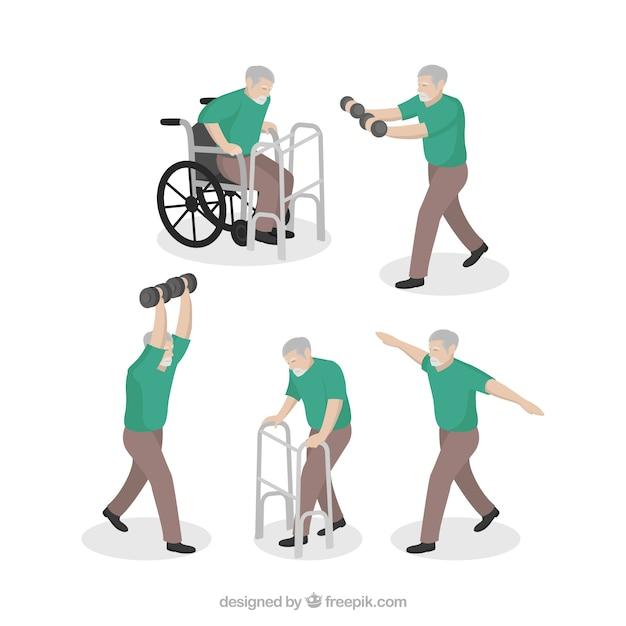 L'uomo fa esercizi di riabilitazione Vettore gratuito
