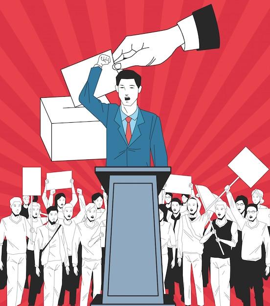L'uomo facendo un discorso e il pubblico con l'insegna e il voto Vettore Premium