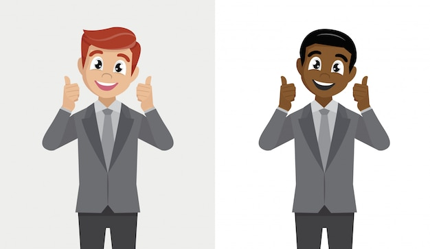 L'uomo felice di affari mostra il gesto freddo. Vettore Premium