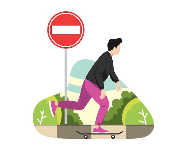 L'uomo gioca a skateboard sulla strada illustrazione vettoriale Vettore Premium