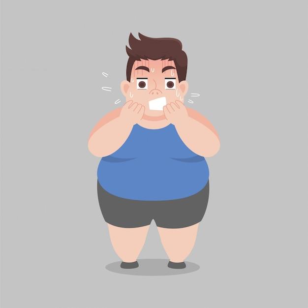 L'uomo grasso si preoccupa per qualcosa di spaventoso Vettore Premium