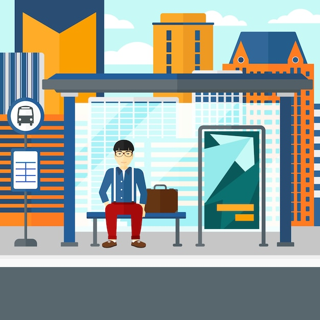 L'uomo in attesa di autobus Vettore Premium