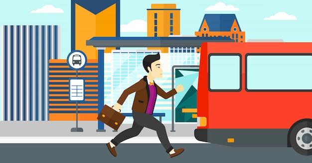 L'uomo manca l'autobus Vettore Premium