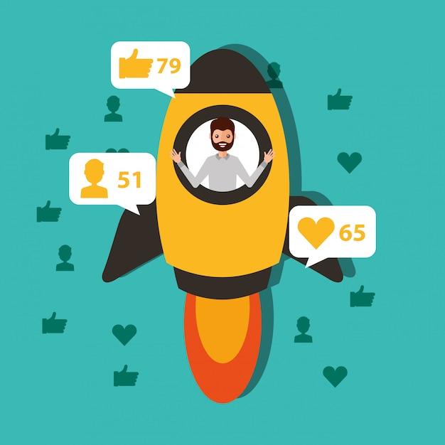 L'uomo nel rocket inizia il contenuto virale Vettore Premium