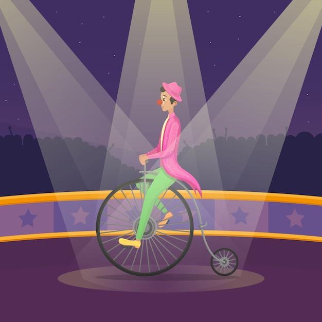 L'uomo nel vestito del pagliaccio guida la retro bici sulla fase del circo Vettore Premium