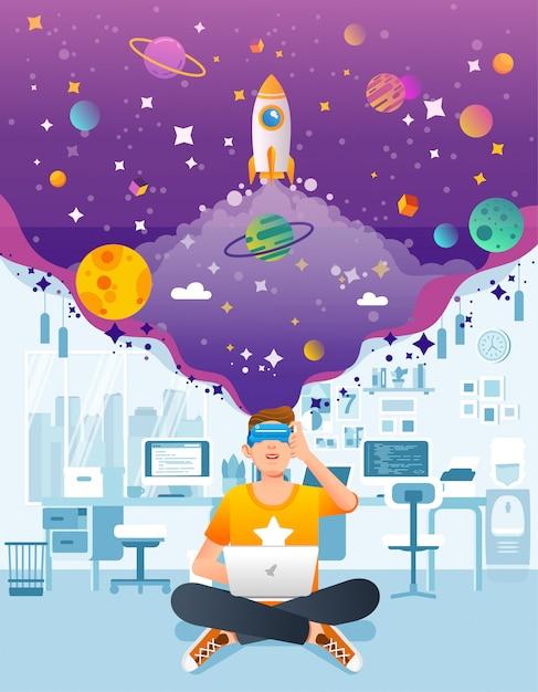 L'uomo si siede con il computer portatile usando vr o la realtà virtuale in ufficio, avvia la società sviluppa l'illustrazione di vettore della tecnologia di vr Vettore Premium