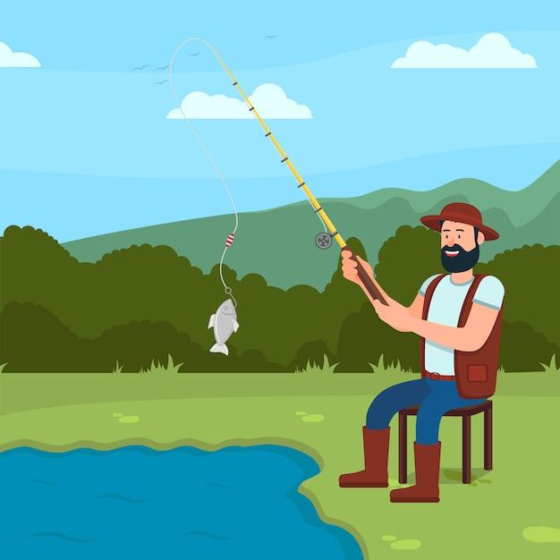 L'uomo si siede su lake shore e ð¡atch fish. canna da pesca in mano. Vettore Premium