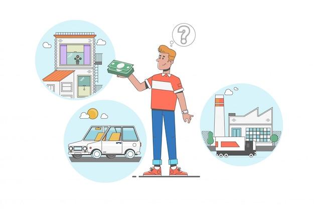 L'uomo sogna di casa, investimenti, fabbrica e auto dopo aver guadagnato dollari Vettore Premium