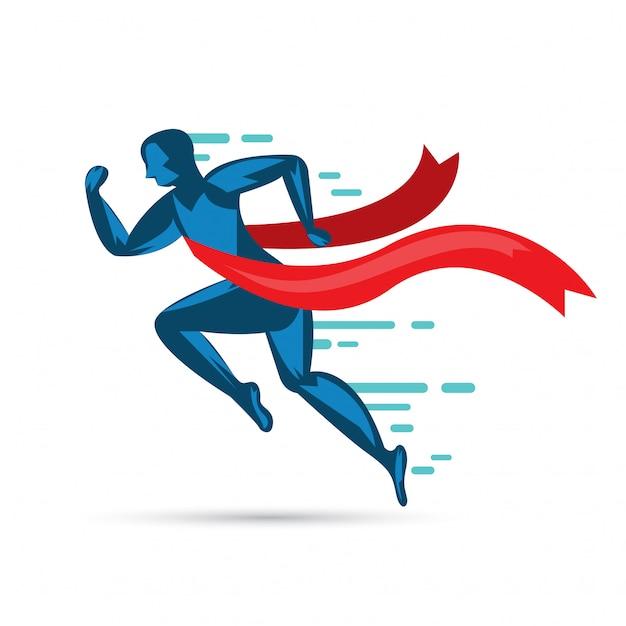 L'uomo sprint in esecuzione per vincere icon.vector piatta Vettore Premium