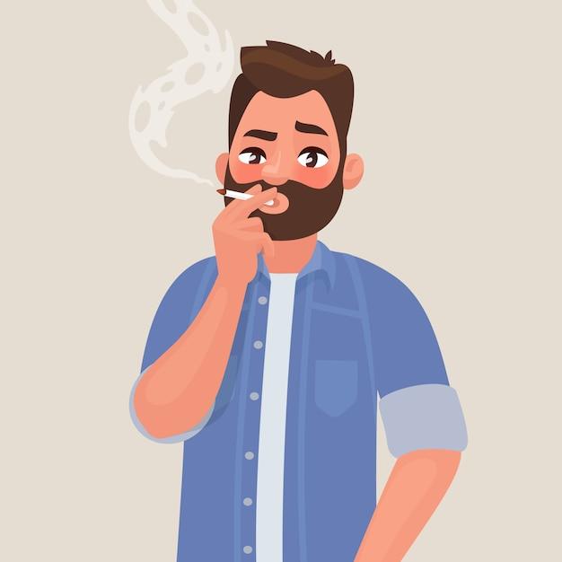 L'uomo sta fumando una sigaretta. dipendenza da tabacco. il concetto di uno stile di vita malsano Vettore Premium