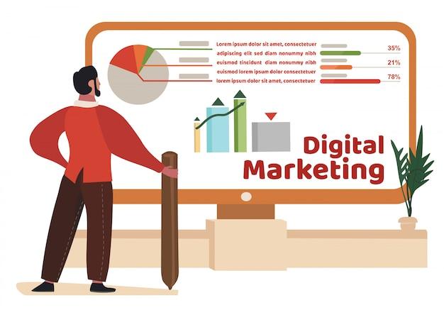 L'uomo studia i dati di marketing digitale in grafici, grafici Vettore Premium