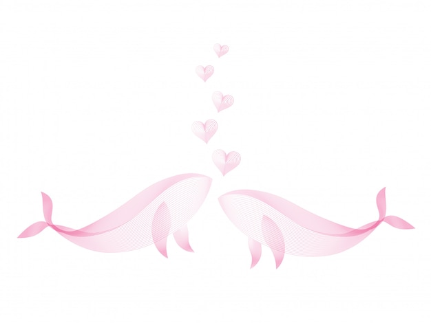 La balena delle coppie che bacia con lo scorrimento del cuore crea dalle linee di colore rosa modello su fondo bianco. per il concetto di amore. Vettore Premium