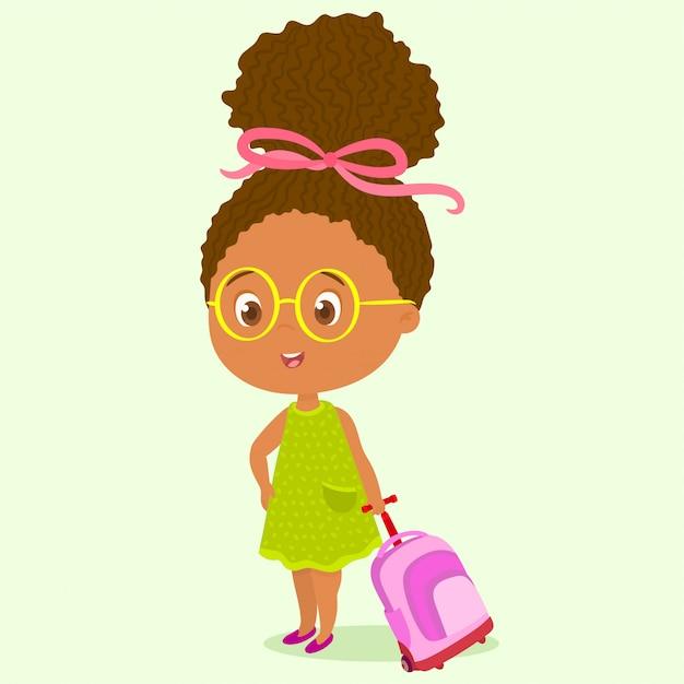 La bambina porta lo zaino con le ruote Vettore Premium