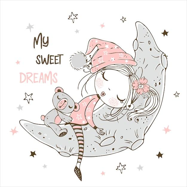 La bambina sveglia che dorme con l'orsacchiotto riguarda la luna. Vettore Premium