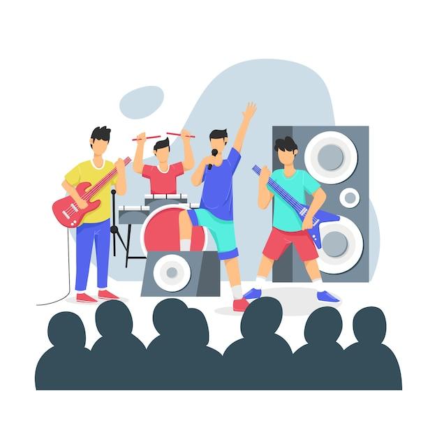 La banda musicale si esibisce sul palco davanti a un'illustrazione della folla Vettore Premium