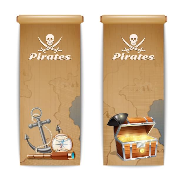 La bandiera del pirata ha impostato con i retro simboli di caccia del tesoro isolati Vettore gratuito