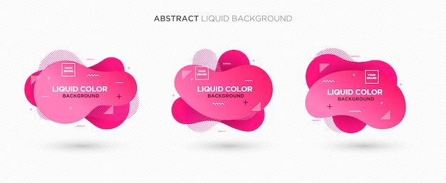 La bandiera moderna astratta di vettore liquido ha impostato nei colori dentellare Vettore Premium