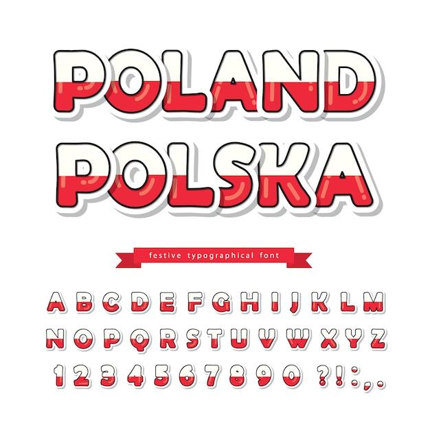 La bandiera nazionale polacca colora il carattere. Vettore Premium