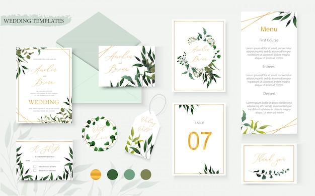 La busta della carta dell'invito dell'oro floreale di nozze conserva la data progettazione dell'etichetta della tavola del menu di rsvp con la struttura verde della corona dell'eucalyptus delle erbe tropicali della foglia. stile dell'acquerello del modello di vettore decorativo botanico Vettore gratuito