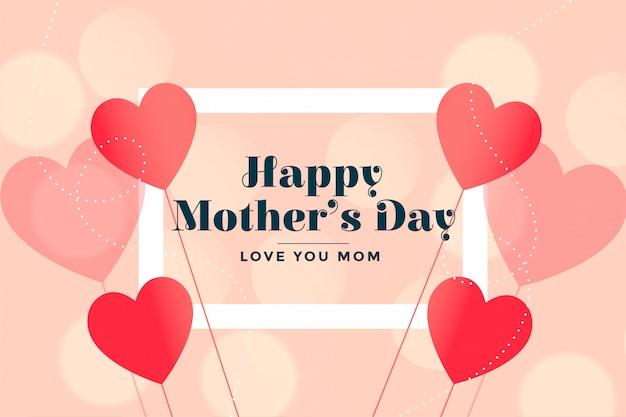 La carta adorabile dei cuori del giorno di madri felice desidera il fondo Vettore gratuito