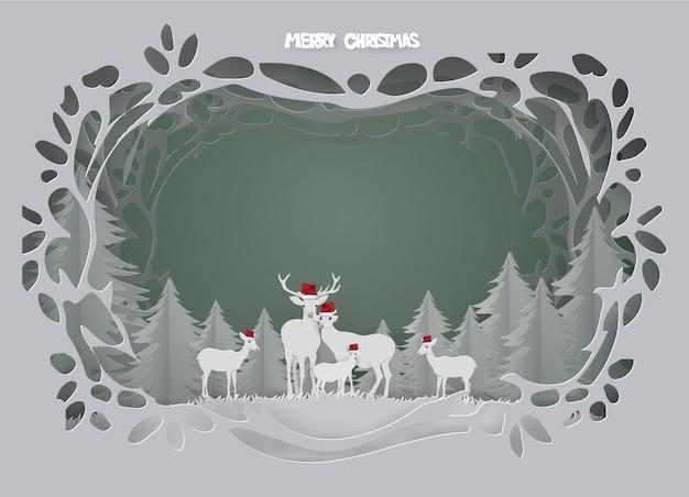 La carta astratta del fondo con la famiglia dei cervi vive in foresta sulla stagione invernale. Vettore Premium