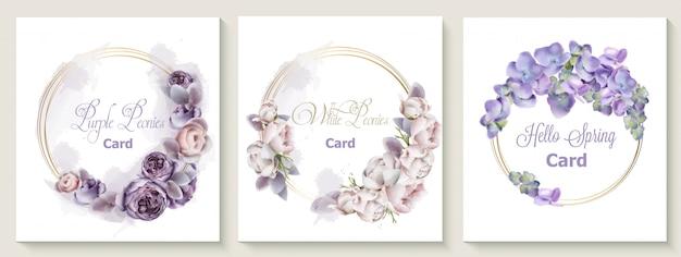 La carta dell'invito di nozze ha messo con l'acquerello porpora dei fiori della peonia Vettore Premium