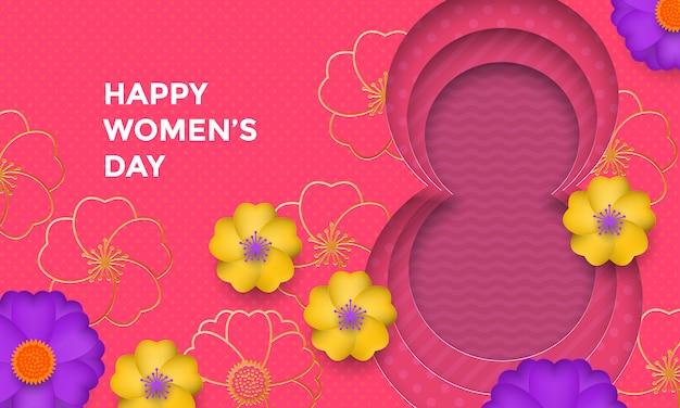 La carta della giornata internazionale della donna ha tagliato l'illustrazione con la montatura in oro numero otto per la carta dell'8 marzo. Vettore Premium