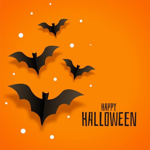La carta di origami batte l'illustrazione per halloween felice Vettore gratuito