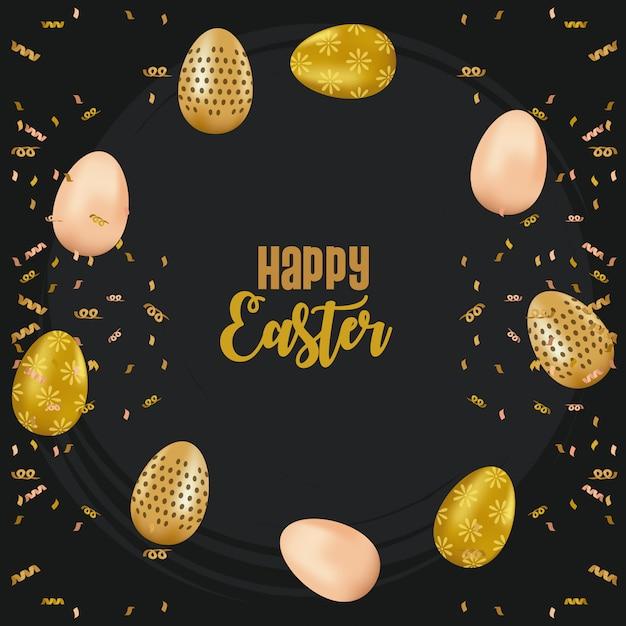 La carta di pasqua felice con iscrizione e le uova dorate ha dipinto il disegno dell'illustrazione di vettore Vettore Premium