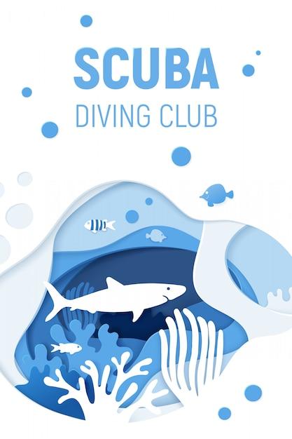La carta ha tagliato il fondo subacqueo con le barriere coralline Vettore Premium