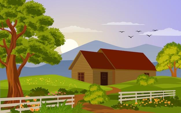 La casa di legno con recinta il tramonto Vettore Premium