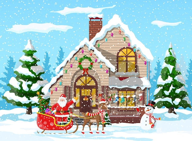 Foto Della Slitta Di Babbo Natale.La Casa Suburbana Ha Coperto La Neve Costruire In Ornamento Di Vacanza Albero Del Paesaggio Di