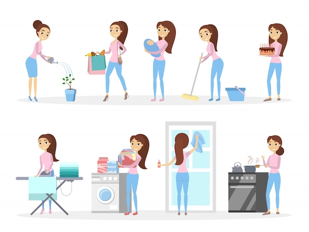 La casalinga isolata ha impostato la cottura, la pulizia e più. Vettore Premium